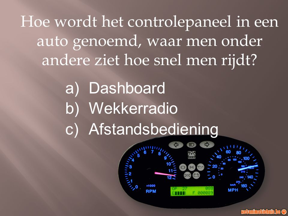 Hoe wordt het controlepaneel in een auto genoemd, waar men onder andere ziet hoe snel men rijdt