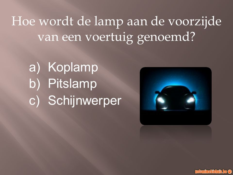 Hoe wordt de lamp aan de voorzijde van een voertuig genoemd