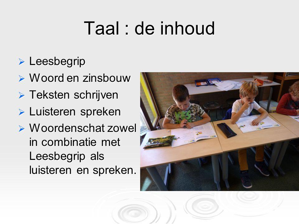Taal : de inhoud Leesbegrip Woord en zinsbouw Teksten schrijven