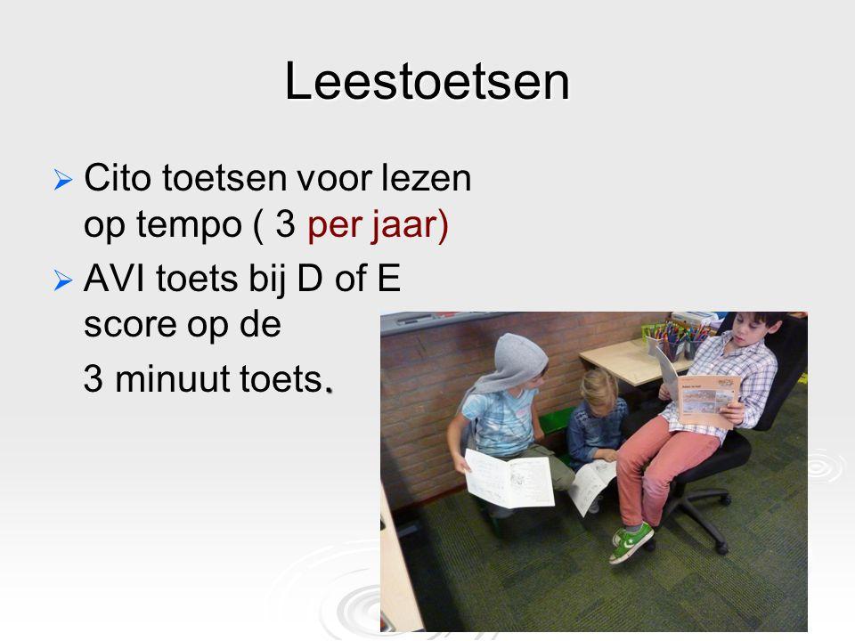 Leestoetsen Cito toetsen voor lezen op tempo ( 3 per jaar)