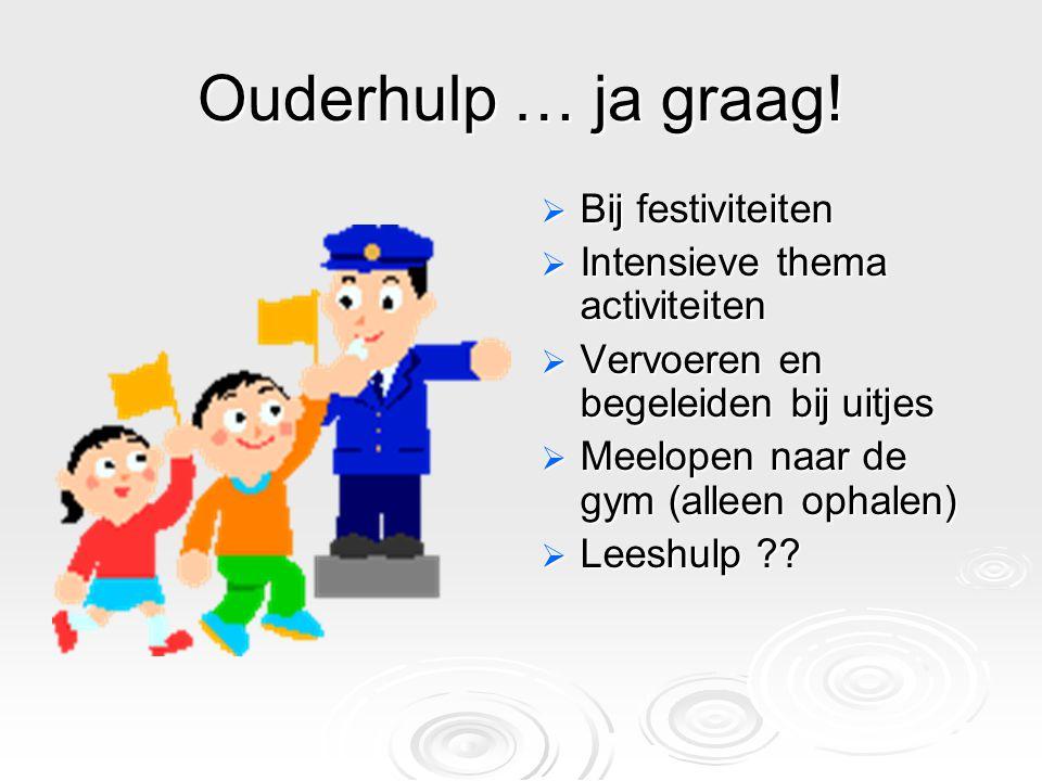 Ouderhulp … ja graag! Bij festiviteiten Intensieve thema activiteiten