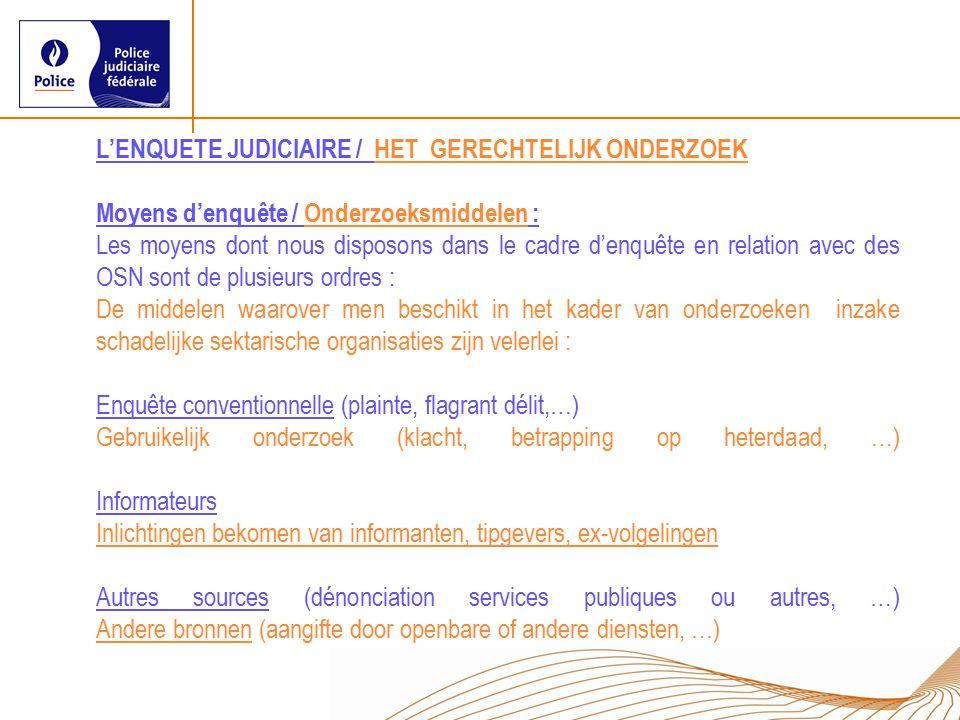 L'ENQUETE JUDICIAIRE / HET GERECHTELIJK ONDERZOEK