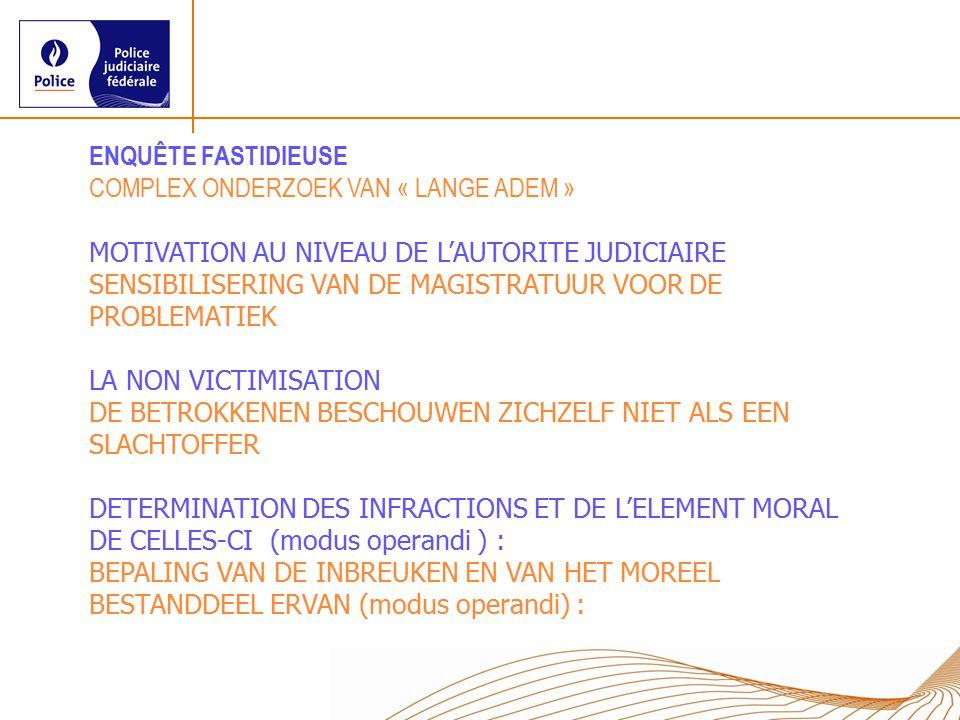 ENQUÊTE FASTIDIEUSE COMPLEX ONDERZOEK VAN « LANGE ADEM » MOTIVATION AU NIVEAU DE L'AUTORITE JUDICIAIRE.