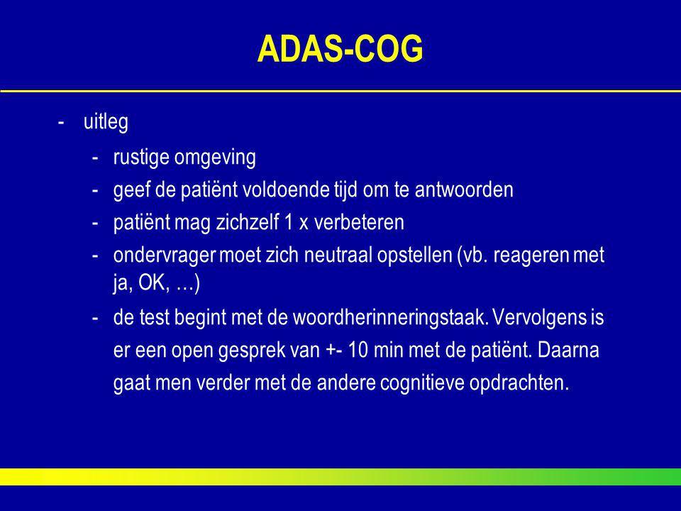 ADAS-COG uitleg rustige omgeving