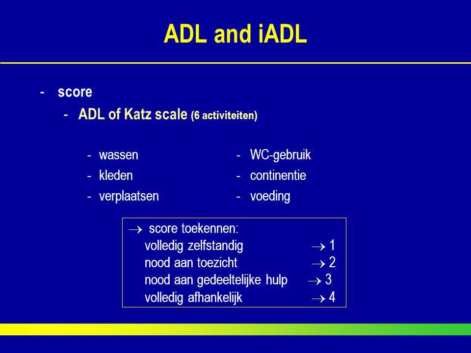 ADL and iADL score ADL of Katz scale (6 activiteiten)