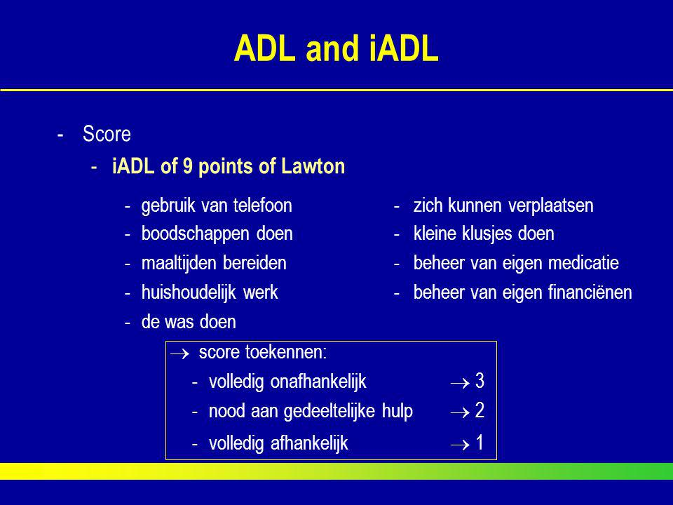 ADL and iADL Score iADL of 9 points of Lawton