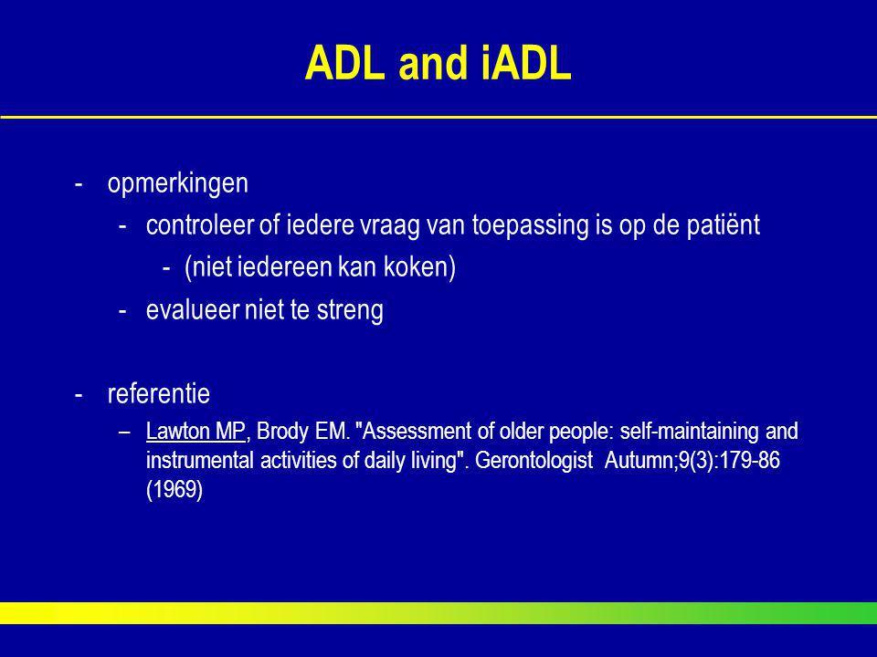 ADL and iADL opmerkingen