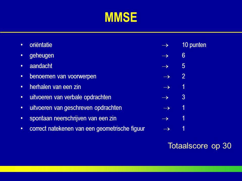 MMSE Totaalscore op 30 oriëntatie  10 punten geheugen  6