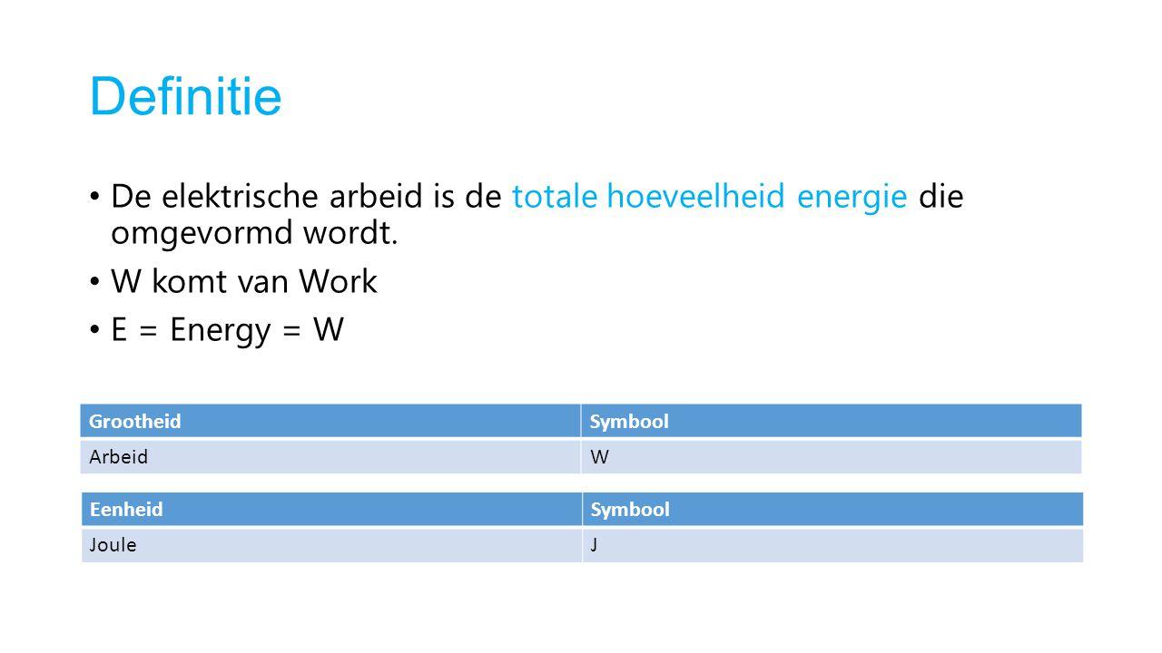 Definitie De elektrische arbeid is de totale hoeveelheid energie die omgevormd wordt. W komt van Work.