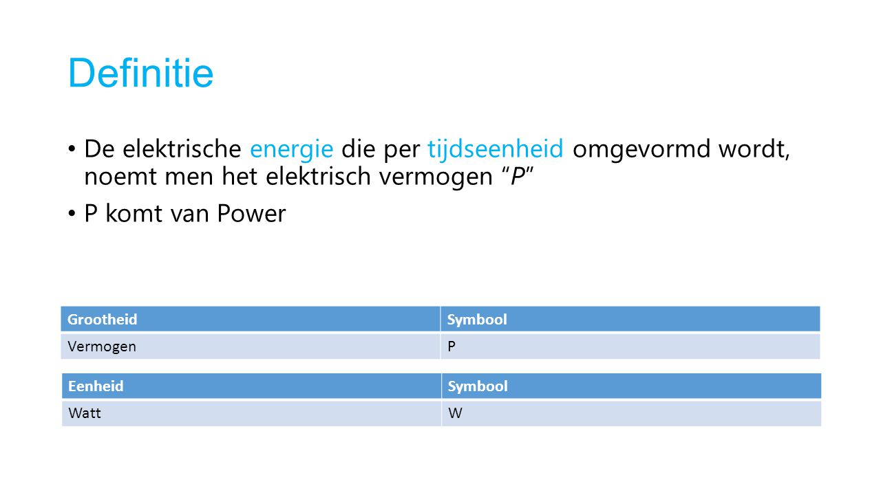 Definitie De elektrische energie die per tijdseenheid omgevormd wordt, noemt men het elektrisch vermogen P