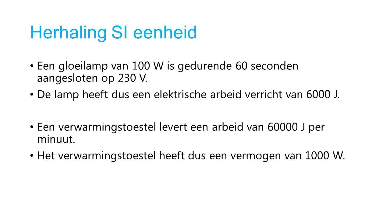Herhaling SI eenheid Een gloeilamp van 100 W is gedurende 60 seconden aangesloten op 230 V.