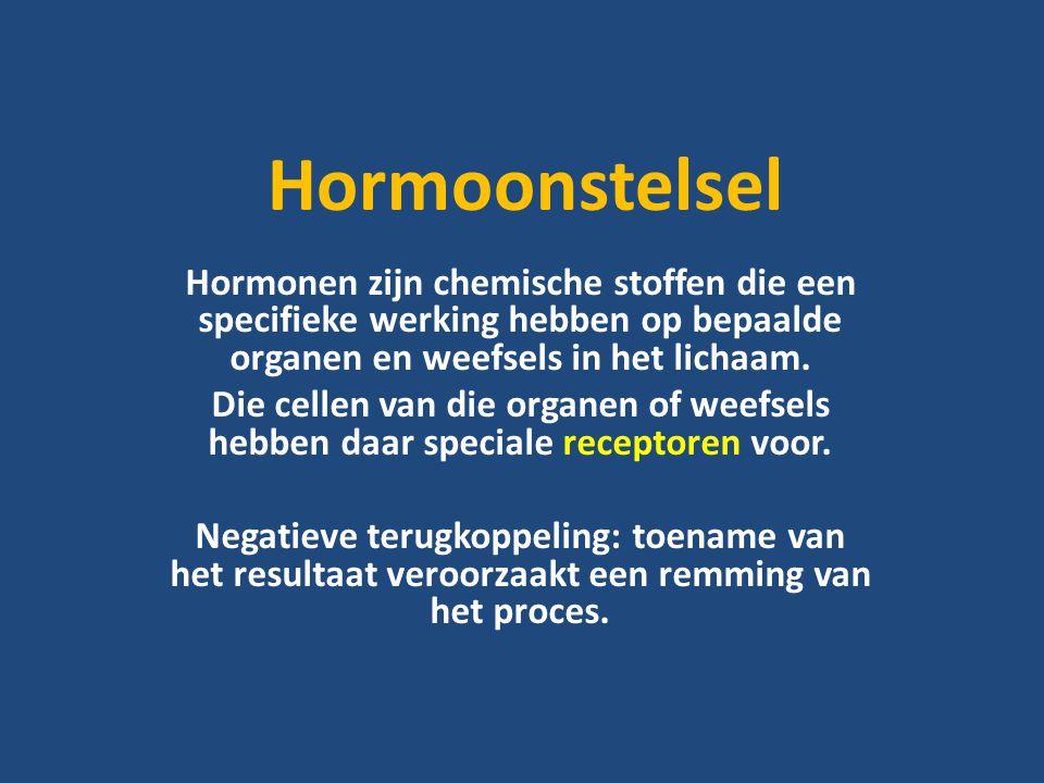 Hormoonstelsel Hormonen zijn chemische stoffen die een specifieke werking hebben op bepaalde organen en weefsels in het lichaam.