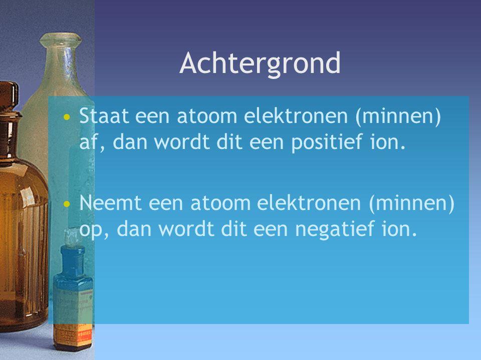 Achtergrond Staat een atoom elektronen (minnen) af, dan wordt dit een positief ion.