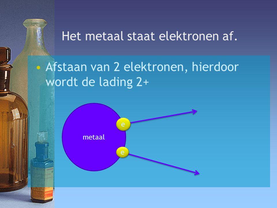 Het metaal staat elektronen af.
