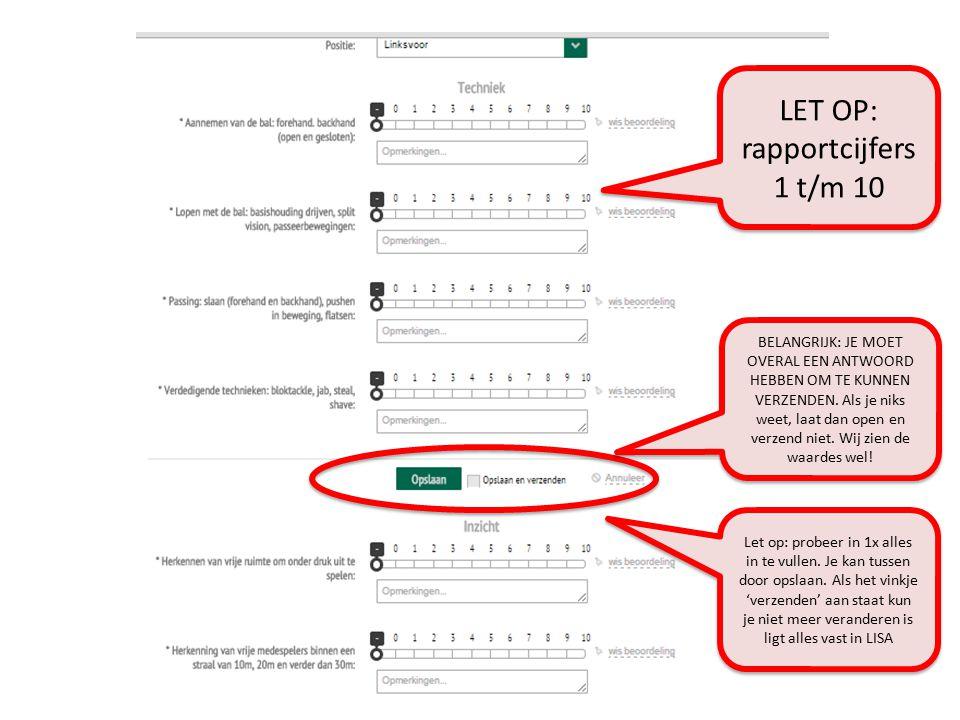 LET OP: rapportcijfers 1 t/m 10