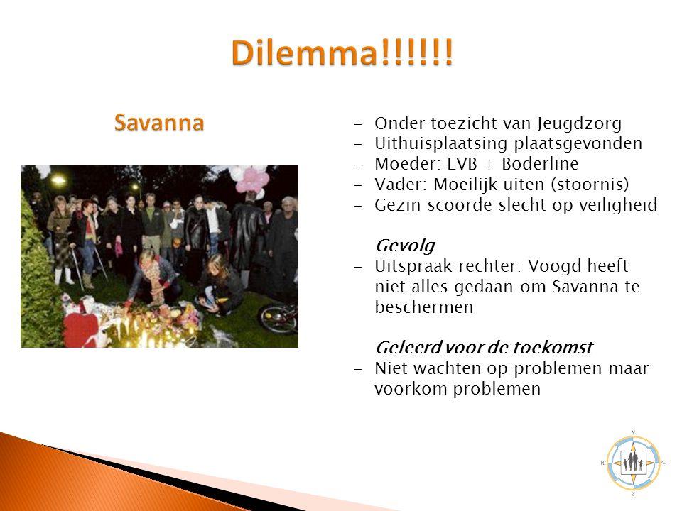 Dilemma!!!!!! Savanna Onder toezicht van Jeugdzorg