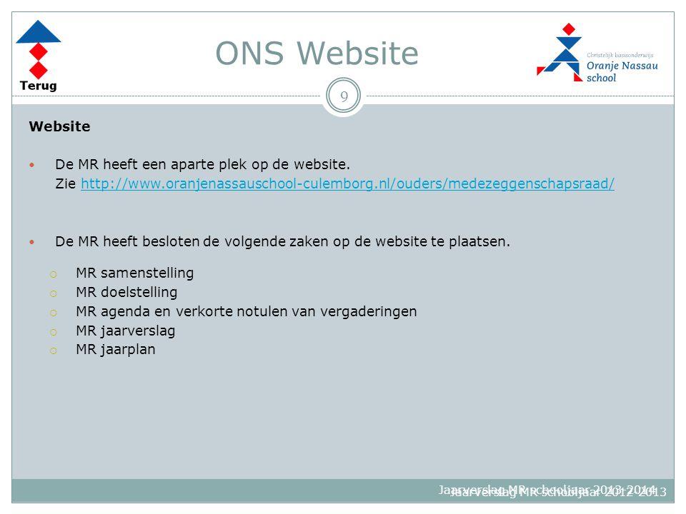 ONS Website 9 Website De MR heeft een aparte plek op de website.
