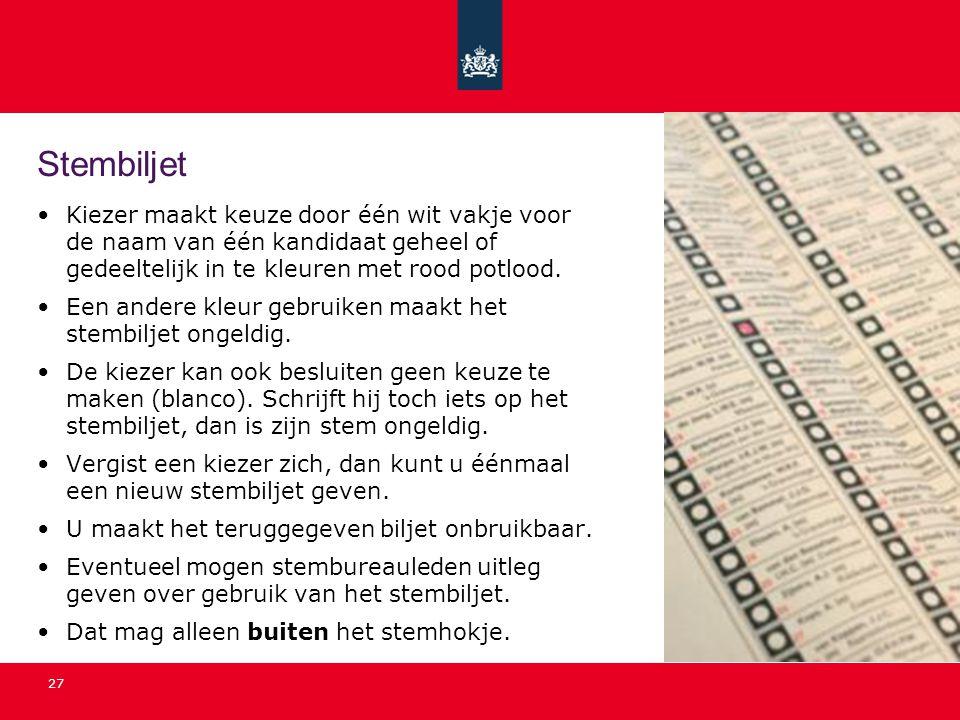 Stembiljet Kiezer maakt keuze door één wit vakje voor de naam van één kandidaat geheel of gedeeltelijk in te kleuren met rood potlood.