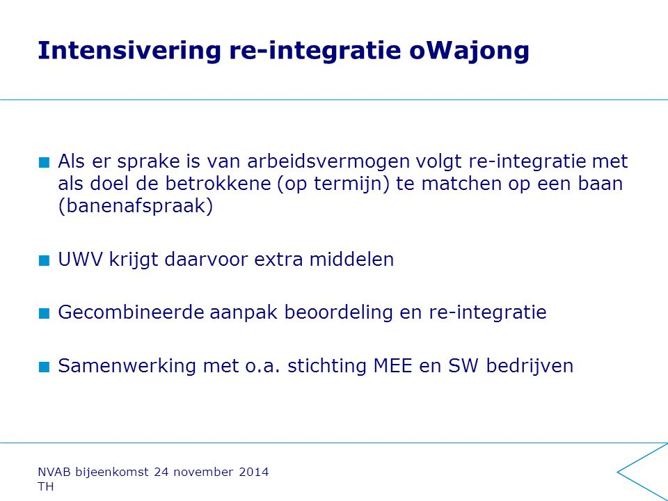 Intensivering re-integratie oWajong