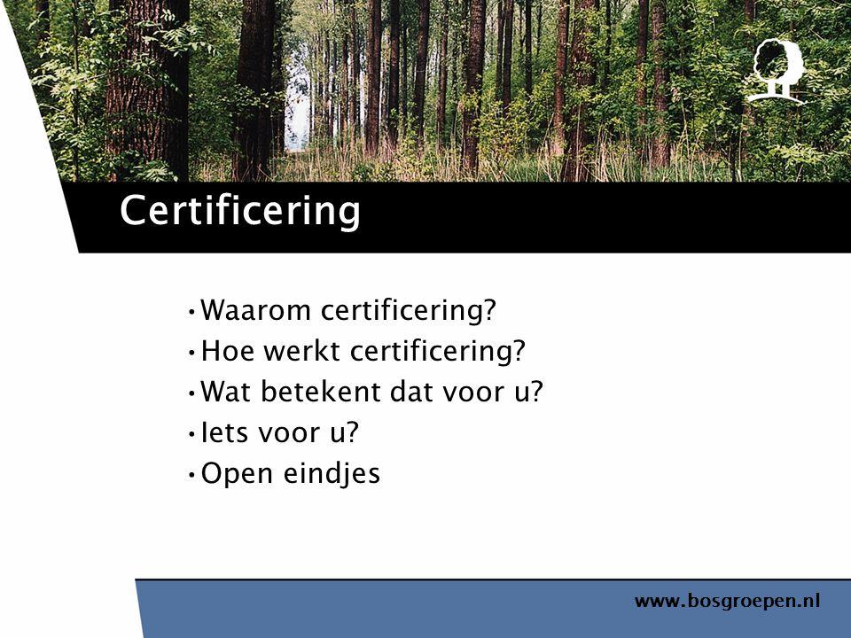 Certificering Waarom certificering Hoe werkt certificering