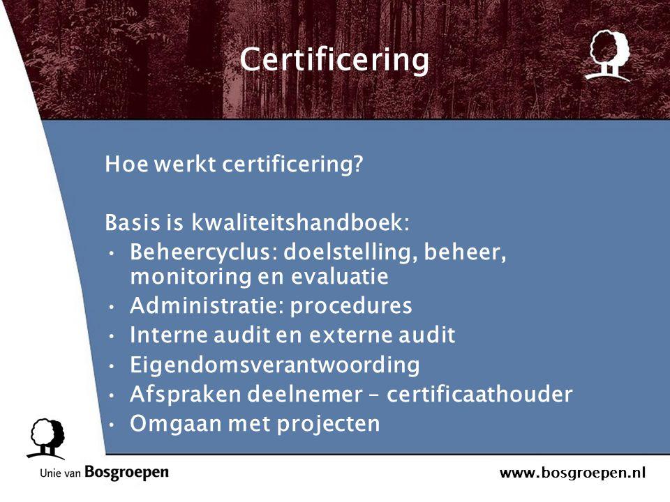 Certificering Hoe werkt certificering Basis is kwaliteitshandboek: