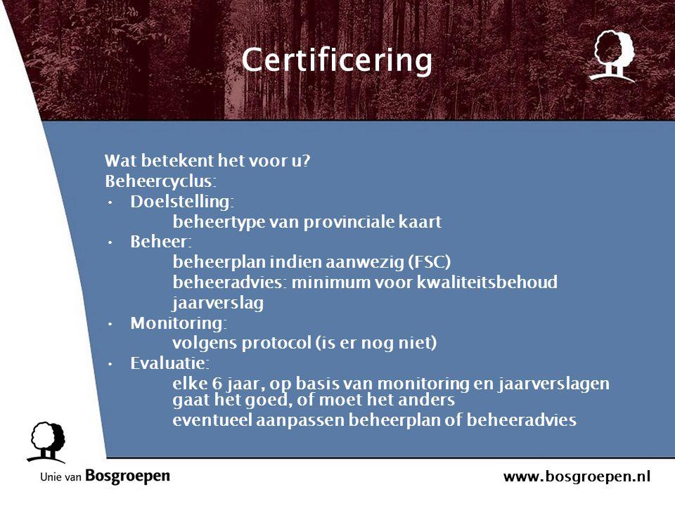 Certificering Wat betekent het voor u Beheercyclus: Doelstelling: