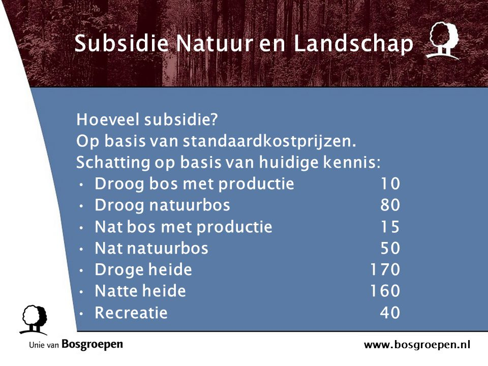 Subsidie Natuur en Landschap