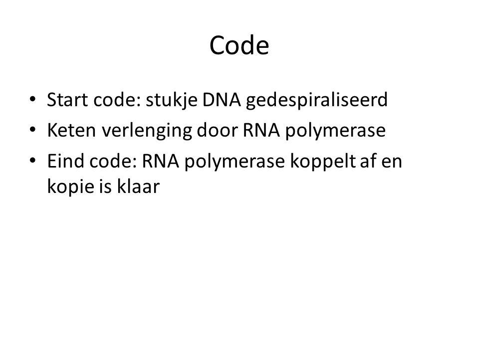 Code Start code: stukje DNA gedespiraliseerd