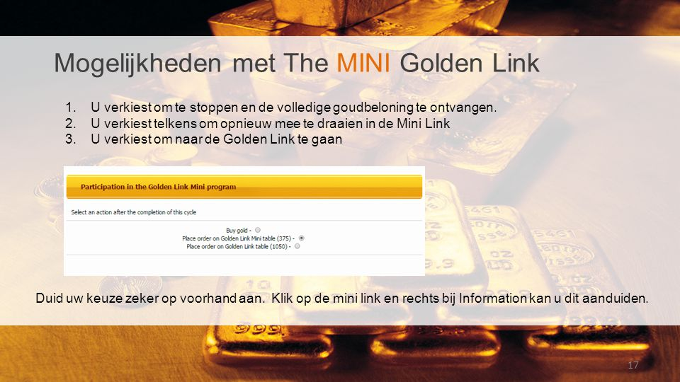 Mogelijkheden met The MINI Golden Link