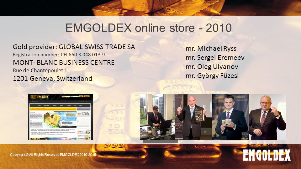 EMGOLDEX online store - 2010