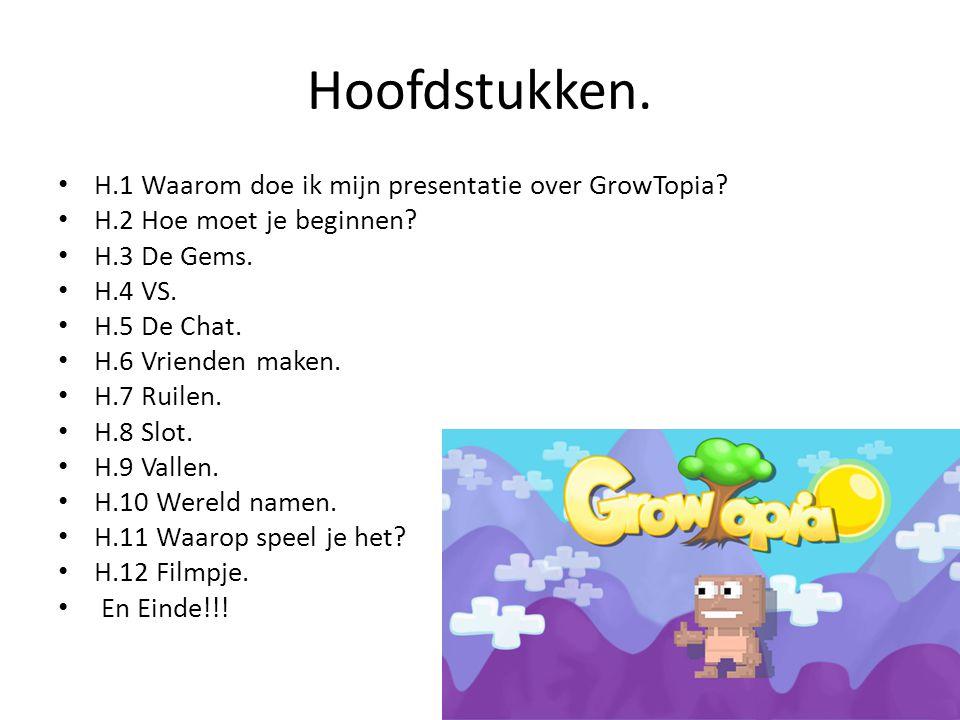 Hoofdstukken. H.1 Waarom doe ik mijn presentatie over GrowTopia