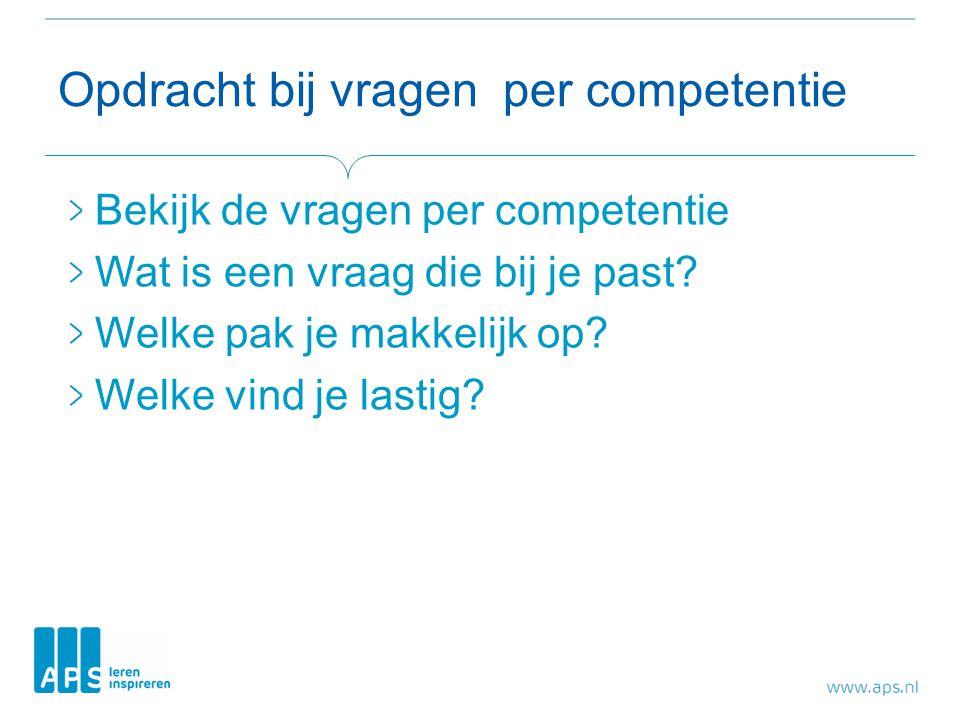 Opdracht bij vragen per competentie