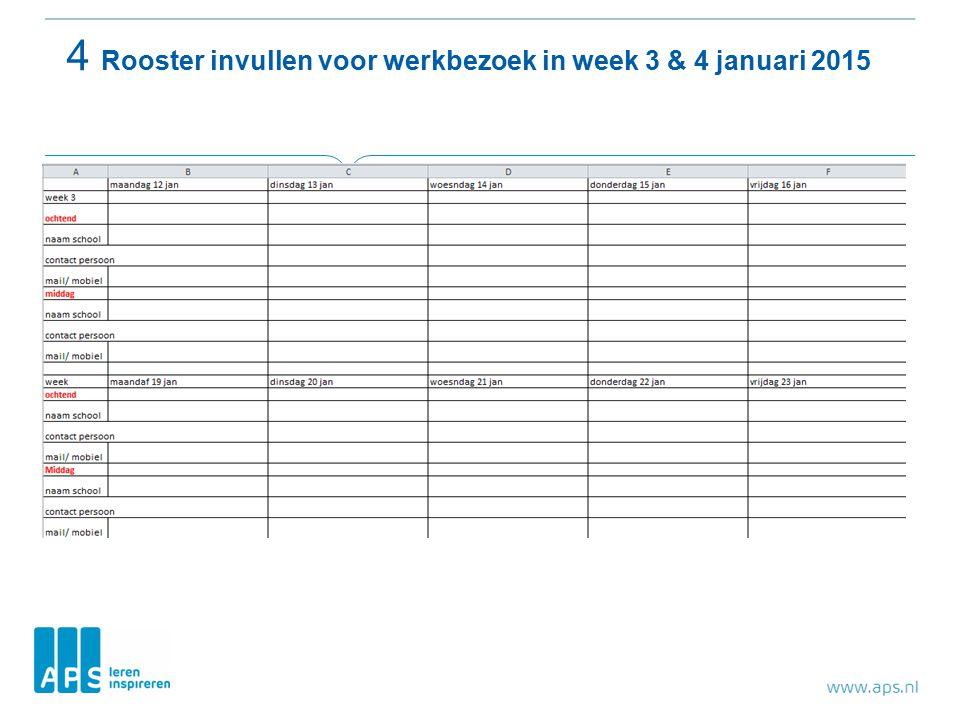 4 Rooster invullen voor werkbezoek in week 3 & 4 januari 2015