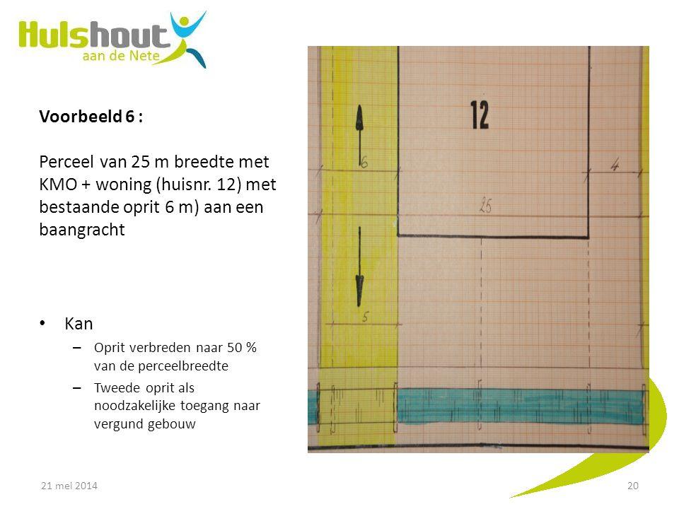 Voorbeeld 6 : Perceel van 25 m breedte met KMO + woning (huisnr
