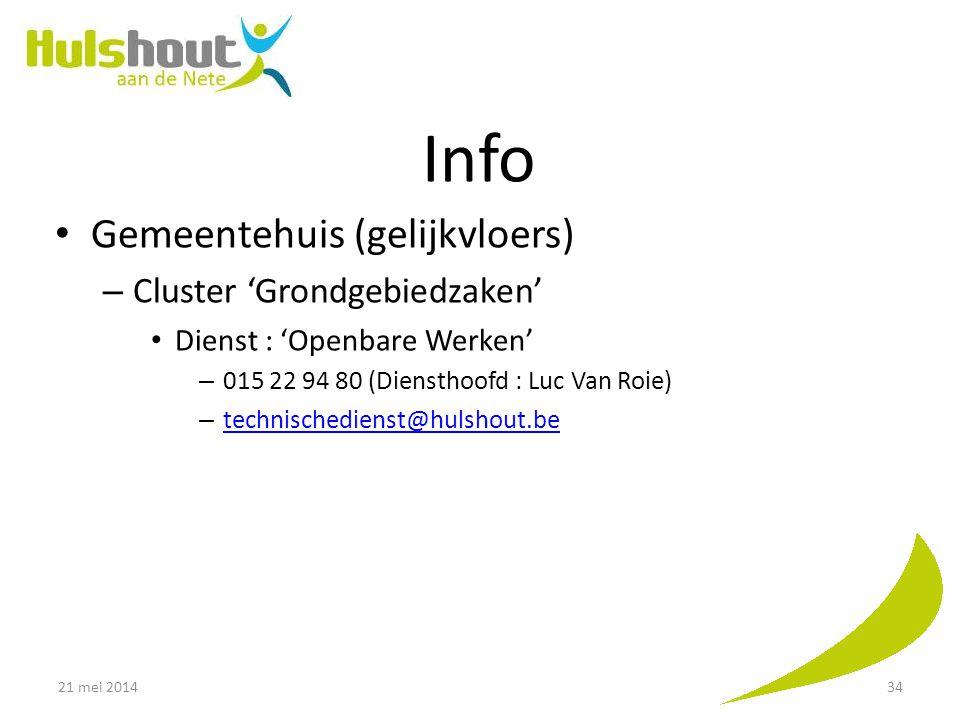 Info Gemeentehuis (gelijkvloers) Cluster 'Grondgebiedzaken'