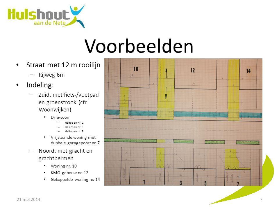 Voorbeelden NOG toevoegen Straat met 12 m rooilijn Indeling: Rijweg 6m