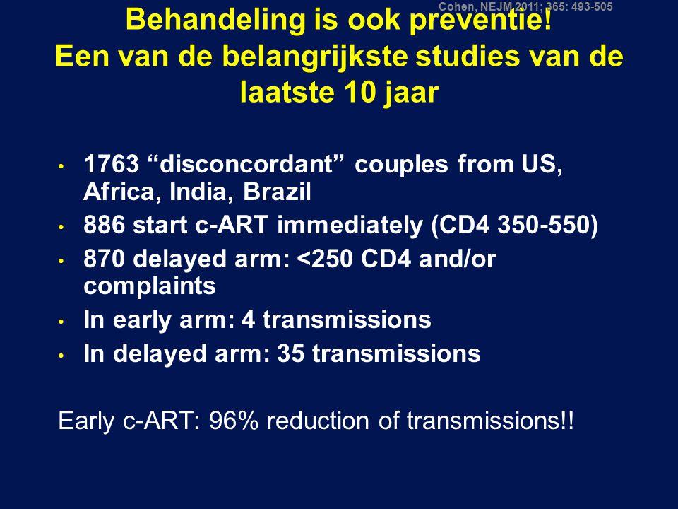 Cohen, NEJM 2011; 365: 493-505 Behandeling is ook preventie! Een van de belangrijkste studies van de laatste 10 jaar.