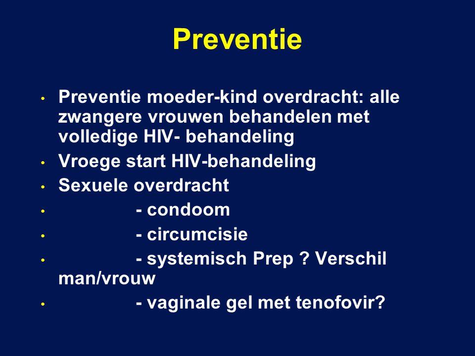 Preventie Preventie moeder-kind overdracht: alle zwangere vrouwen behandelen met volledige HIV- behandeling.