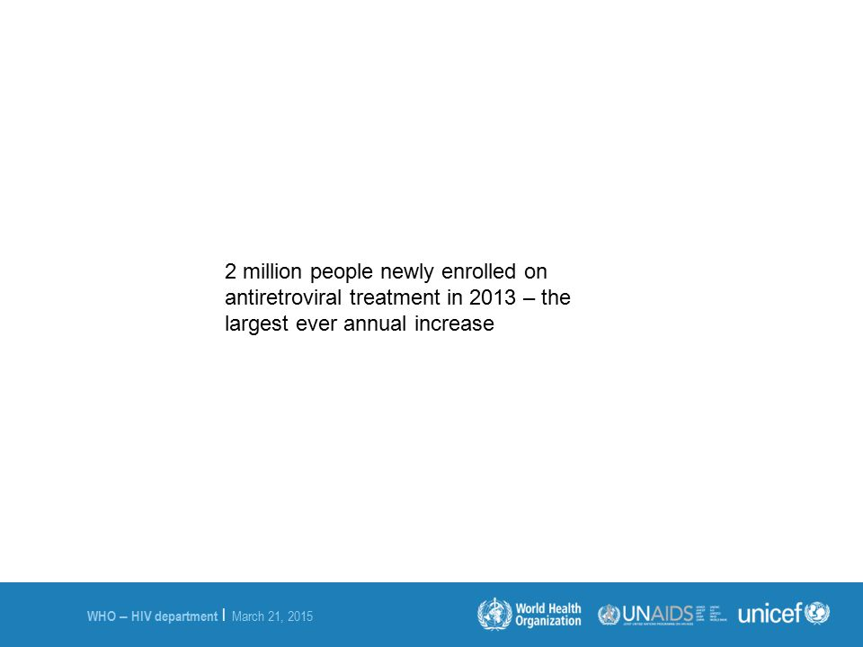 2 million people newly enrolled on antiretroviral treatment in 2013 – the largest ever annual increase