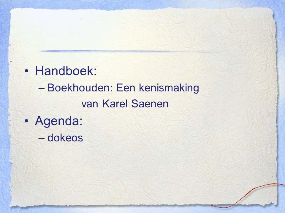 Handboek: Boekhouden: Een kenismaking van Karel Saenen Agenda: dokeos