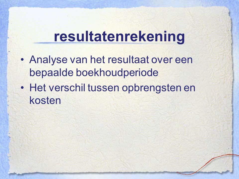 resultatenrekening Analyse van het resultaat over een bepaalde boekhoudperiode.