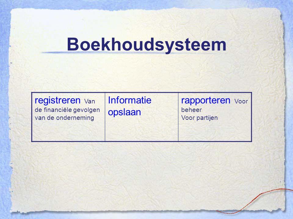 Boekhoudsysteem registreren Van de financiële gevolgen van de onderneming. Informatie opslaan. rapporteren Voor beheer.