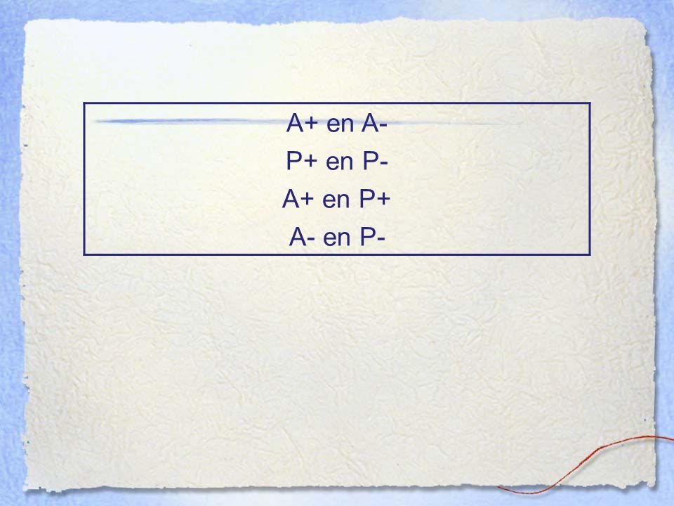 A+ en A- P+ en P- A+ en P+ A- en P-