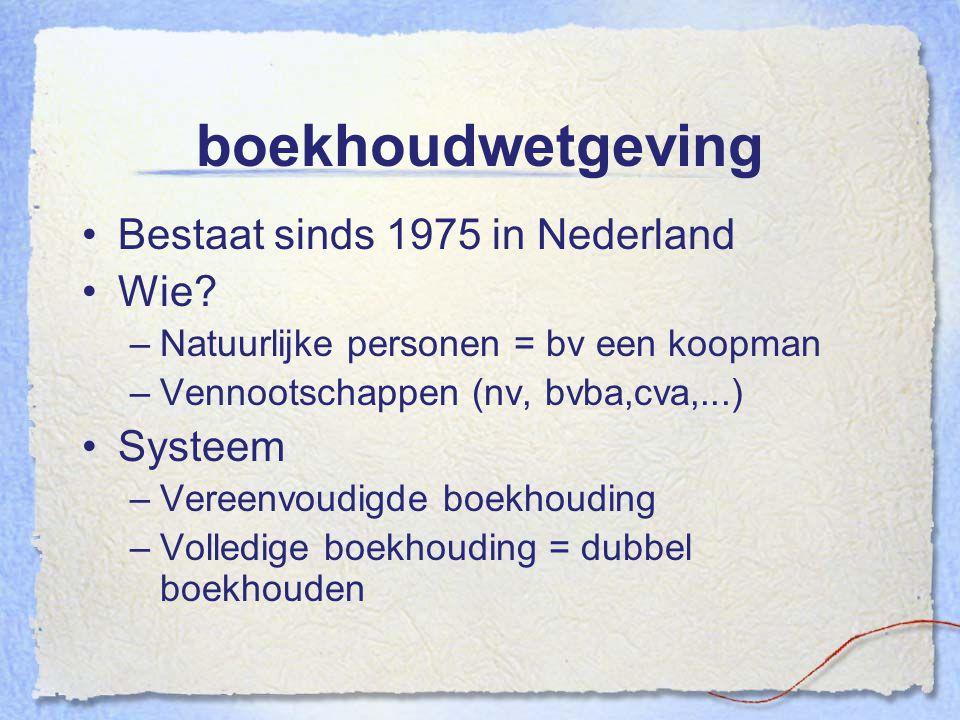 boekhoudwetgeving Bestaat sinds 1975 in Nederland Wie Systeem