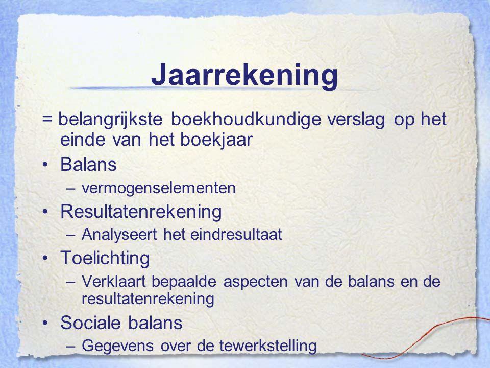 Jaarrekening = belangrijkste boekhoudkundige verslag op het einde van het boekjaar. Balans. vermogenselementen.