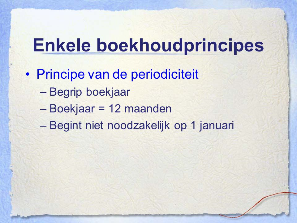 Enkele boekhoudprincipes
