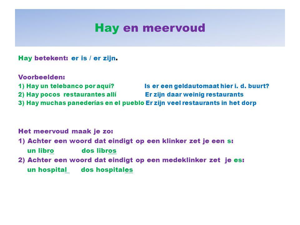 Hay en meervoud Hay betekent: er is / er zijn. Voorbeelden: