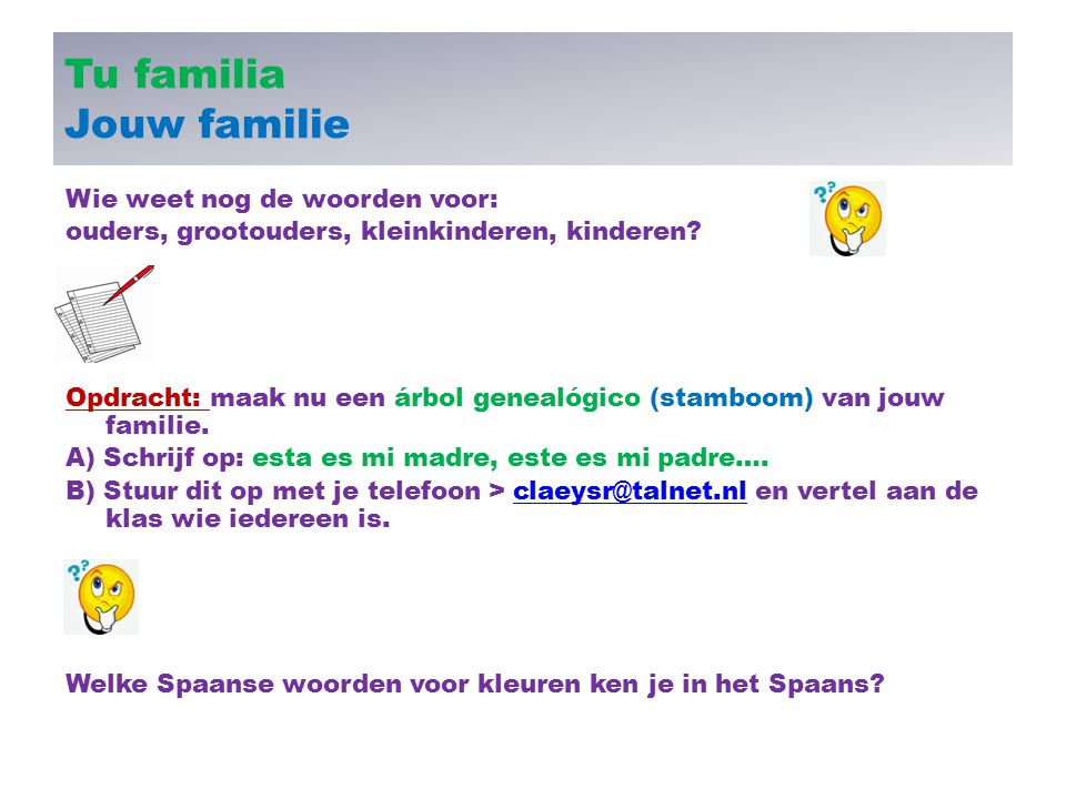 Tu familia Jouw familie