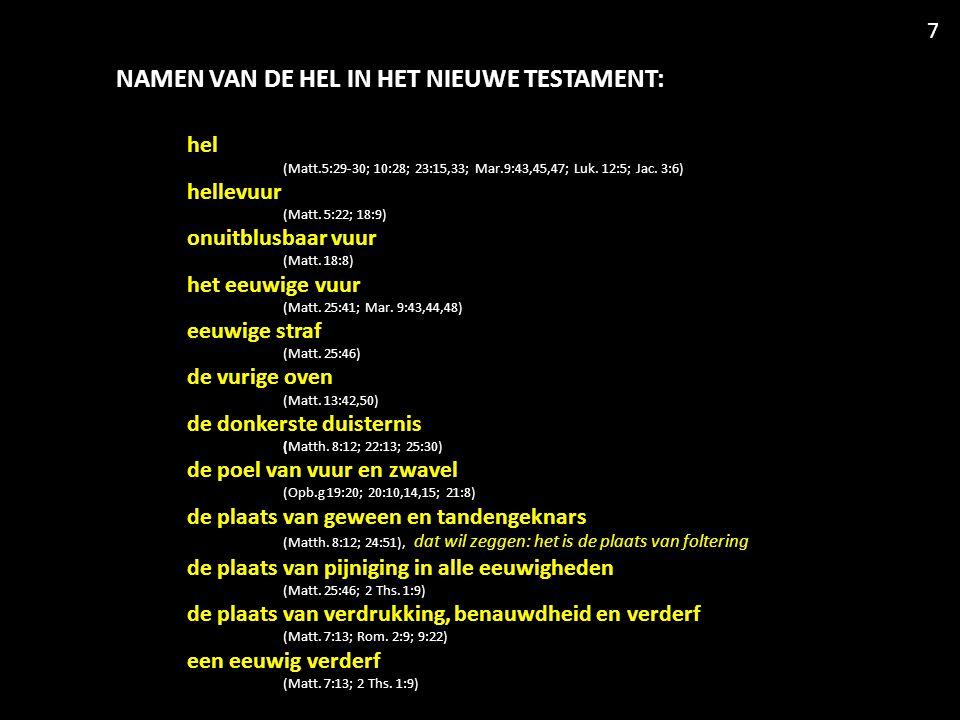 NAMEN VAN DE HEL IN HET NIEUWE TESTAMENT: