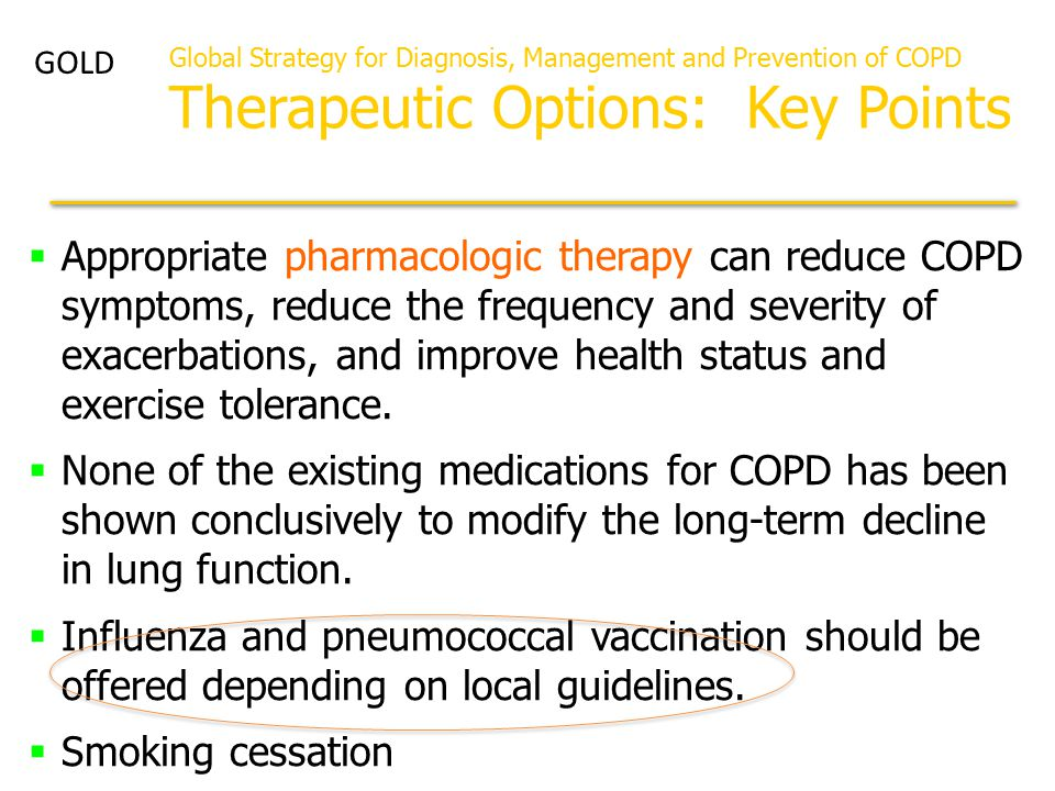 GOLD Global Strategy for Diagnosis, Management and Prevention of COPD Therapeutic Options: Key Points.